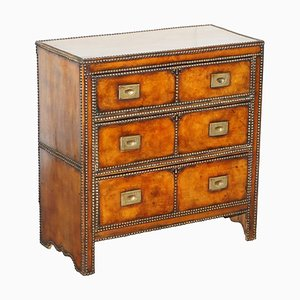 Victorian Whisky Brown Leather Chest of Drawers