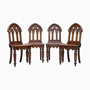 Englische Gotische Esszimmerstühle aus Kirschholz mit Steillehne, 4er Set