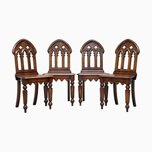 English Oak Gothic Steeple Back Dining Chairs, Set of 4