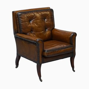 Brown Leather Gentlemans Club Chair, 1810s