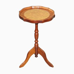 Brown Leather Hardwood Tripod Side Table from Bevan Funell