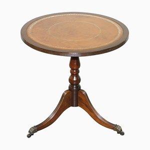 Vintage Hardwood Silver Leaf Embossed Brown Leather Side Table