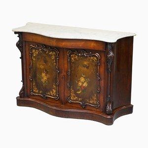 Viktorianisches Geschnitztes Sideboard mit Marmorplatte