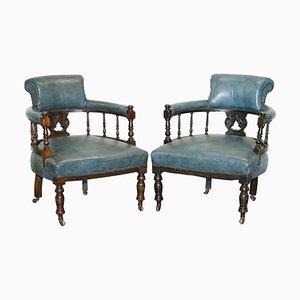 Blaues Leder Captains Büro / Gast Sessel, 1900er, 2er Set