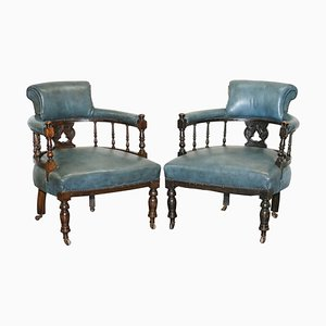 Blue Leather Captains Office / Guest Armchairs, 1900s, Set of 2