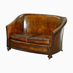 Viktorianisches Handgefärbtes Braunes Leder Chesterfield Sofa