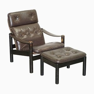 Mid-Century Danish Brown Leather Armchair & Chesterfield Footstool, Set of 2