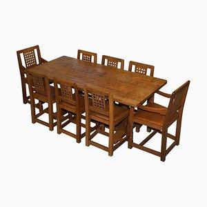 Esstisch & Stühle von Robert Mouseman Thompson, 1968, 9er Set
