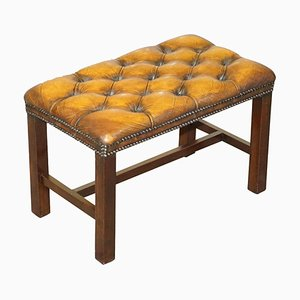 Chesterfield Hardwood Framed Cigar Brown Leather Piano Bench