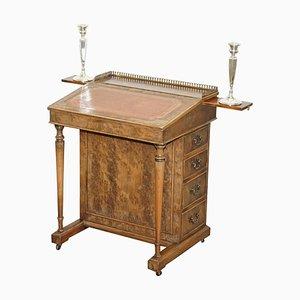 Vintage Burr Walnut, Leather and Brass Desk