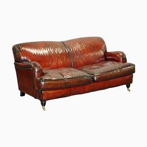 Reddish Brown Leather Sofa