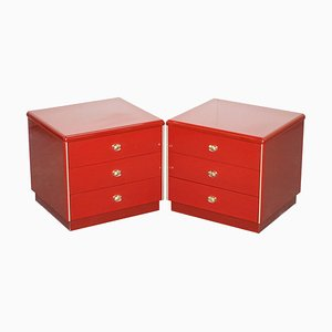 Mid-Century Oak and Bakelite Chest of Drawers, Set of 2
