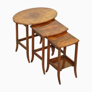 Tavolini a incastro vittoriani in radica di noce, set di 3