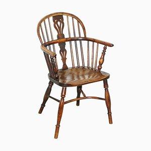 Windsor Armlehnstuhl aus Wurzel- und Eibenholz, 1860er