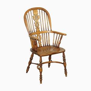 Englischer Windsor Armlehnstuhl aus Ulmenholz mit hoher Rückenlehne, 19. Jh