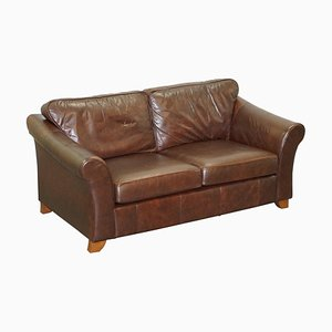 Abbey Brown Leather Sofa with Armchair from Marks & Spencers, Set of 2
