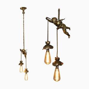 Französische Deckenlampe mit Engelchen aus vergoldeter Bronze, 1920er