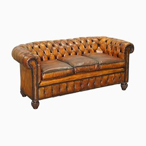Whisky Brown Leather Chesterfield Club Sofa, 1900s