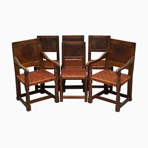 Burr Oak Dining Chairs by Robert Mouseman Thompson, 1930s, Set of 6