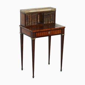 Antiker französischer Schreibtisch aus Hartholz & Marmor, 1870er