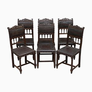 French Oak and Embossed Crocodile Leather Dining Chair, 1880s