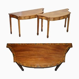 George III Style Satinwood & Tulip Wood Console Tables, 1780s, Set of 2