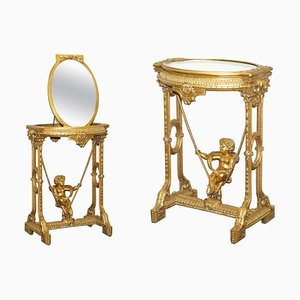 Gold Giltwood Table with Mirror Top, 1920s, Set of 2