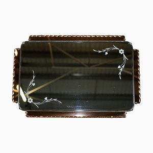 Peach French Art Deco Venetian Etched and Engraved Bevelled Mirror