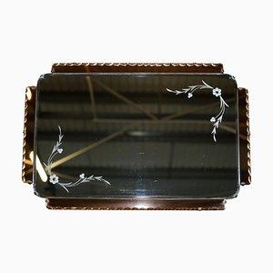 Pfirsichfarbener französischer Art Deco Venezianischer Geätzter und Gravierter Spiegel