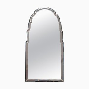 Art Deco Peach Glass Beveled Venetian Curved Steeple Top Mirror