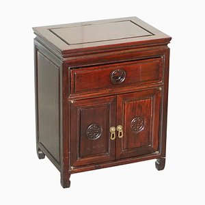 Chinese Red Carved Teak Side Table with Small Cupboard & Single Drawer