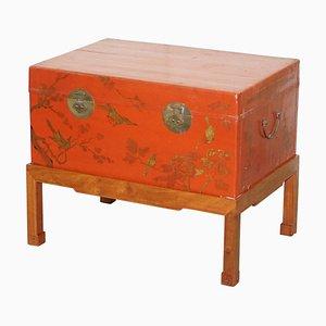 Handbemalter chinesischer Vintage Chinoiserie Gepäck Couchtisch mit Stauraum