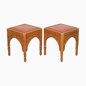 Antique Victorian Hand Carved Asethetic Movement Stools, 19th Century, Set of 2
