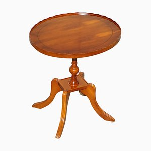 Burr Yew Wood Side or Lamp Table with Gallery Rail from Beresford & Hicks