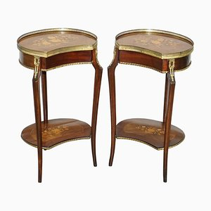 Antique French Louis XVI Brass Rail & Floral Inlaid Side or Lamp Tables, Set of 2