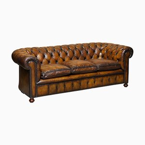 English Hand Dyed Cigar Brown Leather Chesterfield Club Sofa, 1950s