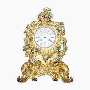 Grande Horloge de Cheminée Décorative en Bronze Doré et Doré, France, 1860s