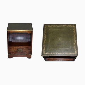 Hardwood, Green Leather & Brass Trim Military Campaign Side Table with Drawers