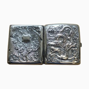 Meiji Period Solid Silver Dragon Embossed Cigarette Case with Gold Gilding