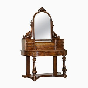 Antiker viktorianischer Frisiertisch aus Walnuss-Wurzelholz mit vierteiligem Spiegel