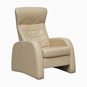 Cream Leather Recliner Armchair with Long Footrest