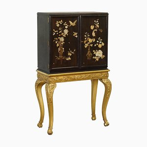 Chinese Chinoiserie Drinks Cabinet with Gold Giltwood Carved Base