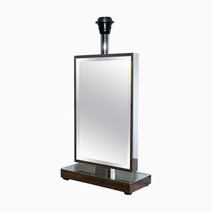 Venetian Glass Mirrored Table Lamp with Heavy Chrome Frame