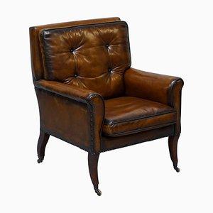 Regency Hand Dyed Brown Leather Gentleman's Club Armchair, 1810