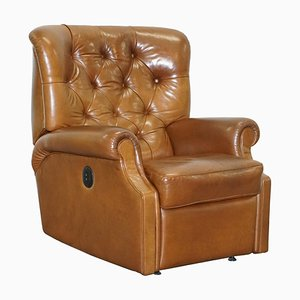 Tan Brown Leather Chesterfield Electric Relciner Armchair
