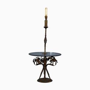Blattgold Lackierter & Rauchglas Beistelltisch mit Eingebauter Lampe