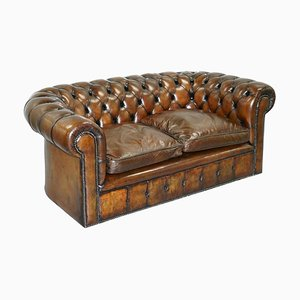 English Hand Dyed Cigar Brown 2-Seat Chesterfield Club Sofa, 1930s