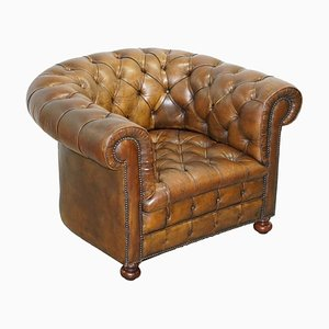 Hand Dyed Brown Leather Fully Buttoned Chesterfield Club Armchair, 1940s