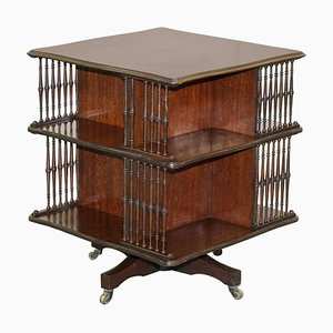 Antique Victorian Revolving Library Bookcase or Side Table from Howard & Sons