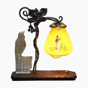Bronze Bird & Wrought Iron Table Lamp with Painted Glass Shade, 1930s